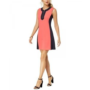 NEW Tommy Hilfiger Colorblock Dress Coral Navy 12